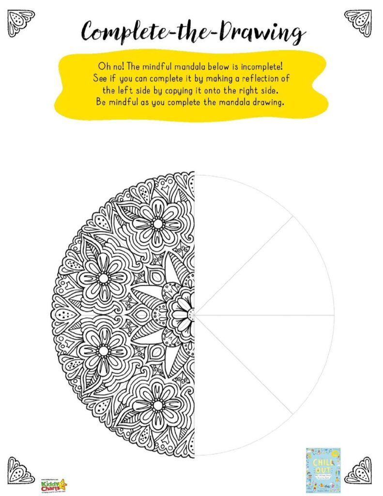 Complete the mandala mindful activity for kids