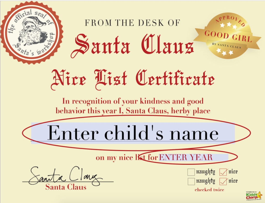 Free Santa Nice List Certificate