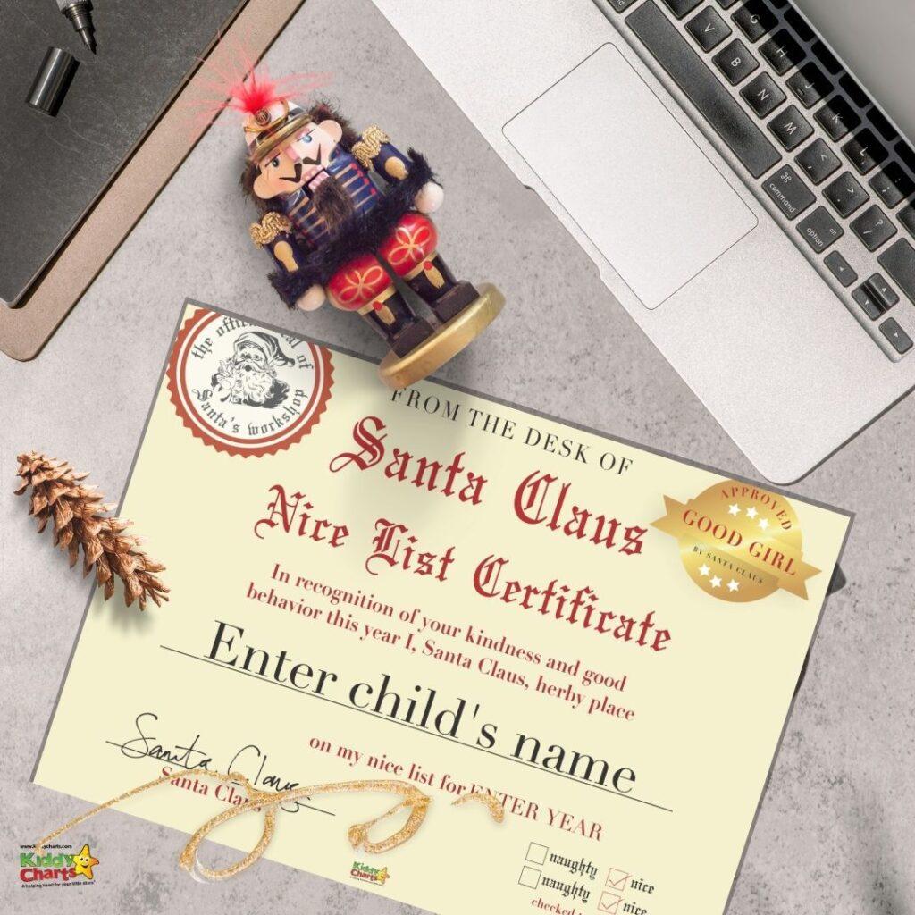 Santa Nice List Certificate Free And Fun Kiddycharts Com