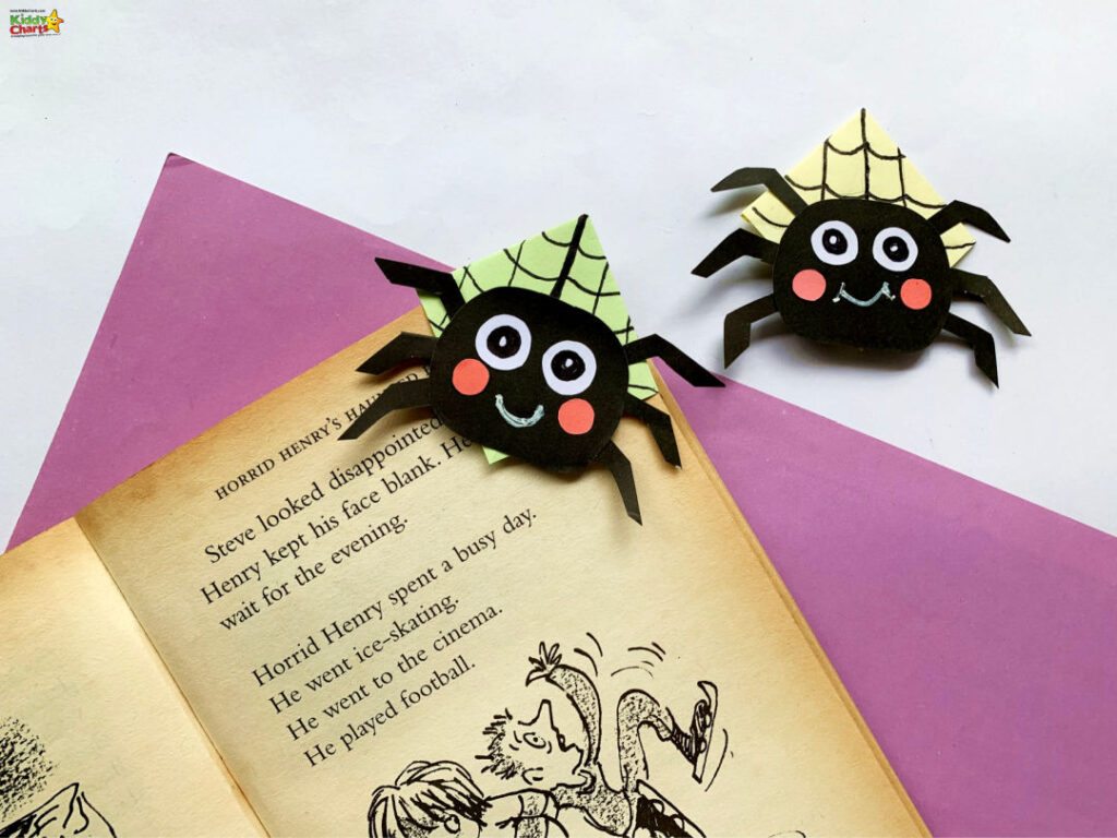 Finally, glue the spider on the bookmark
