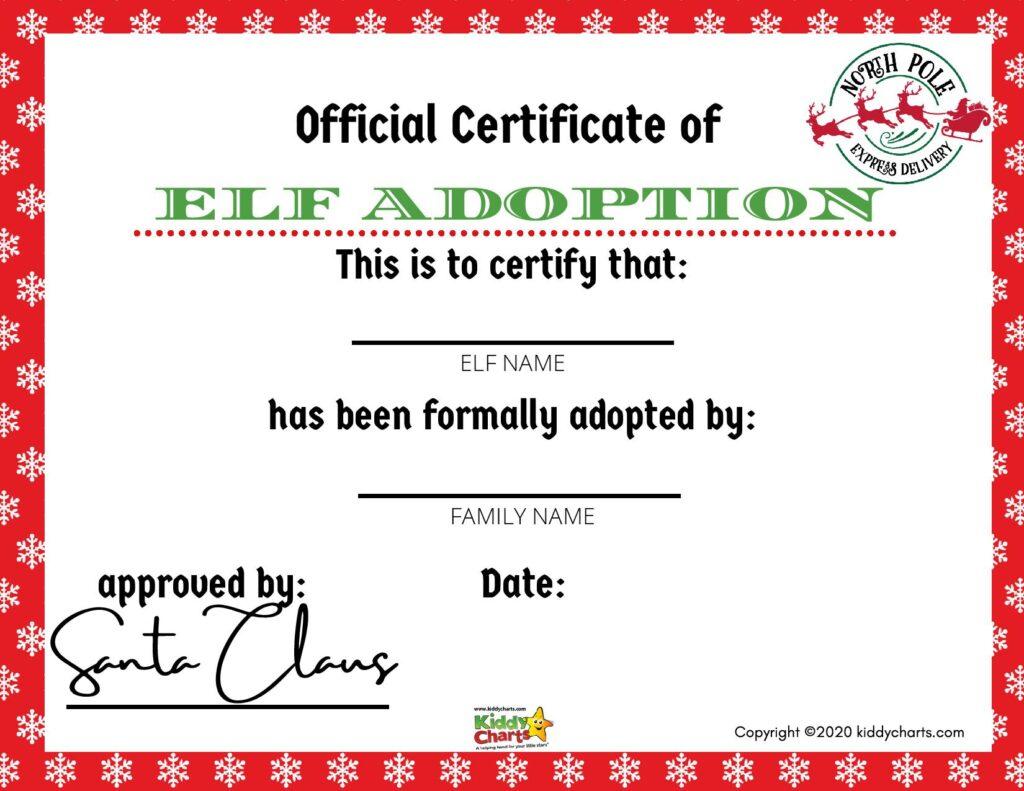 Elf Adoption Certificate