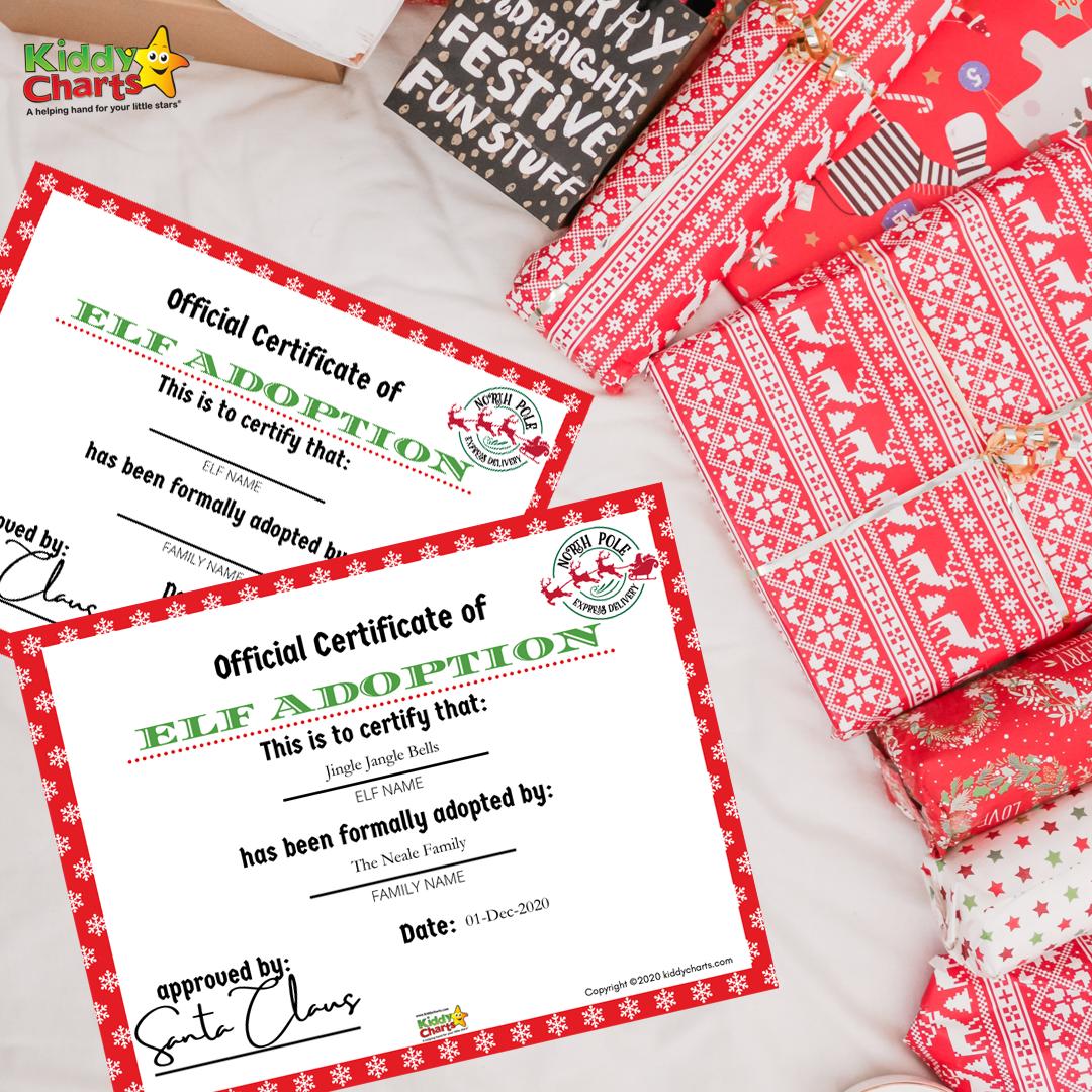 Printable Elf Adoption Certificate Kiddycharts Com