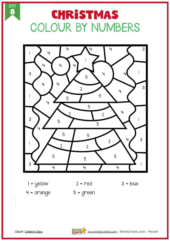 Christmas Coloring And Activities - 25 Christmas Tree - Kiddycharts.com