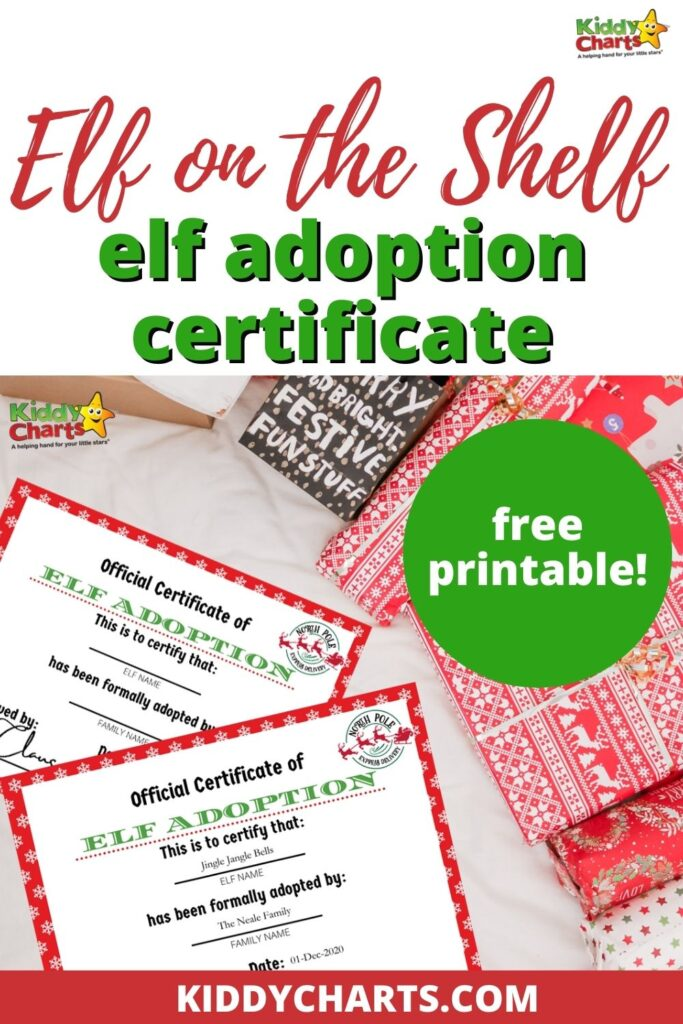 Printable Elf Adoption Certificate Kiddycharts Com