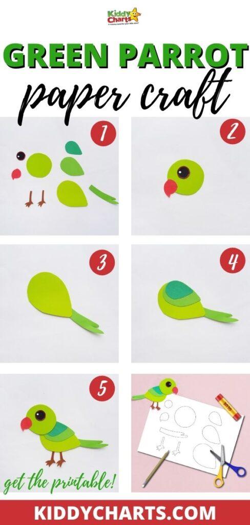 Green parrot paper craft
