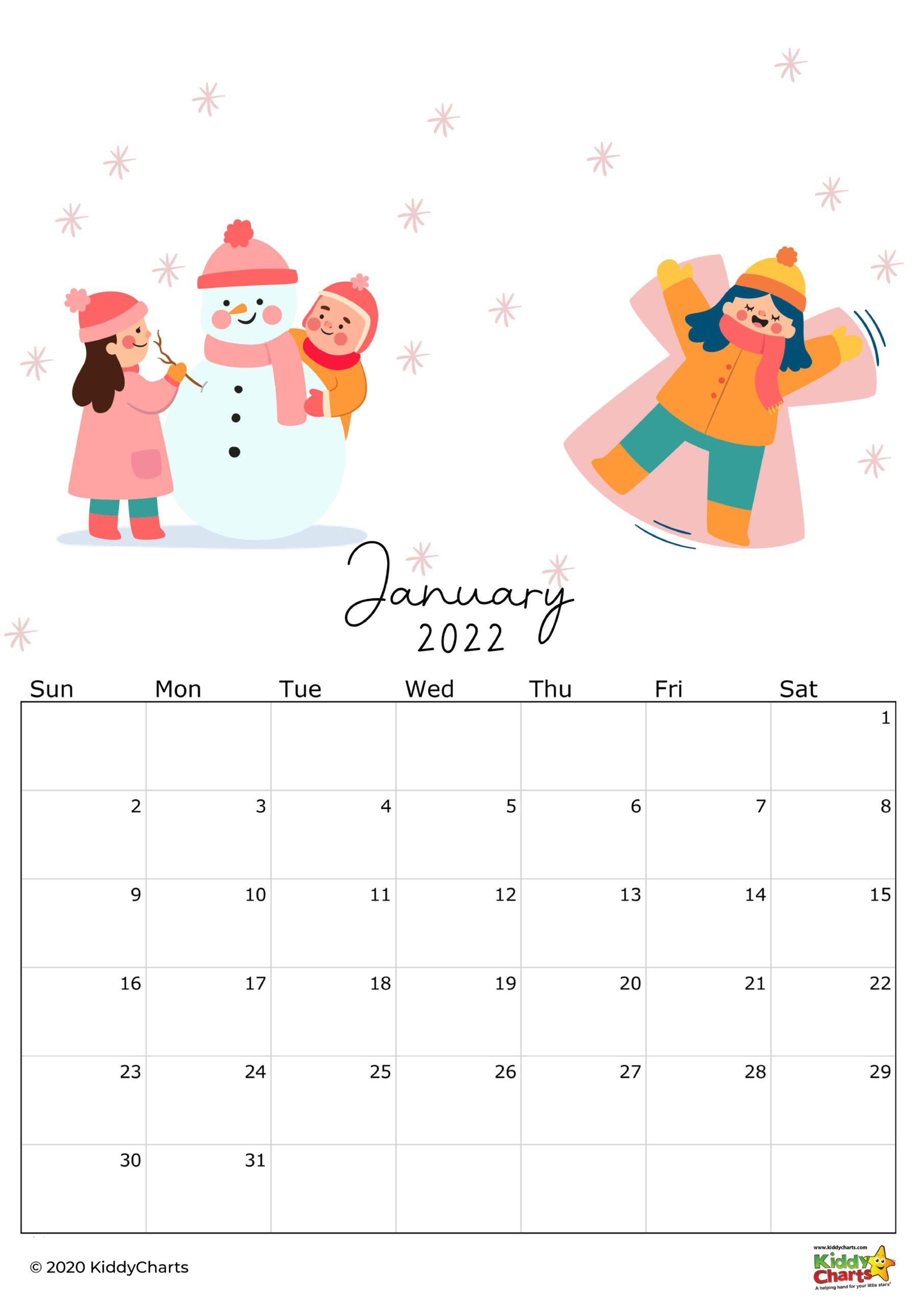 2022 calendar printable kids