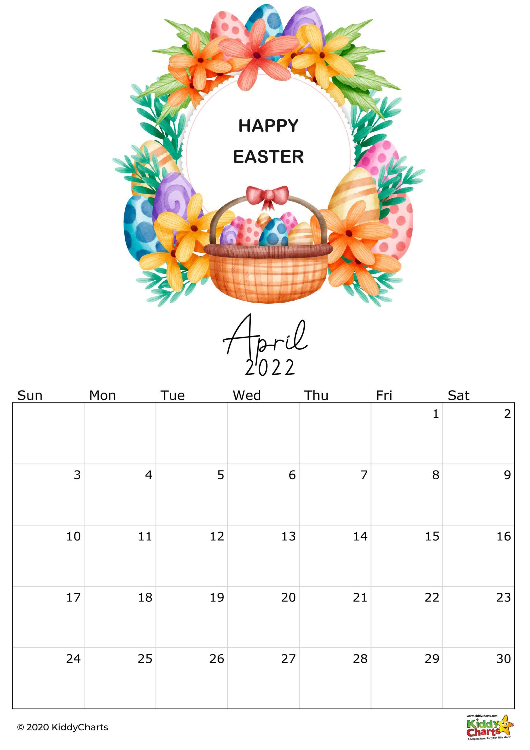 2022 calendar for kids