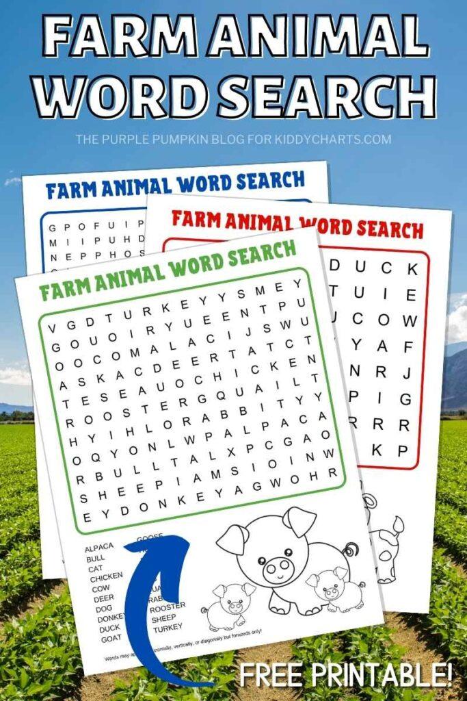 Farm animals wordsearch