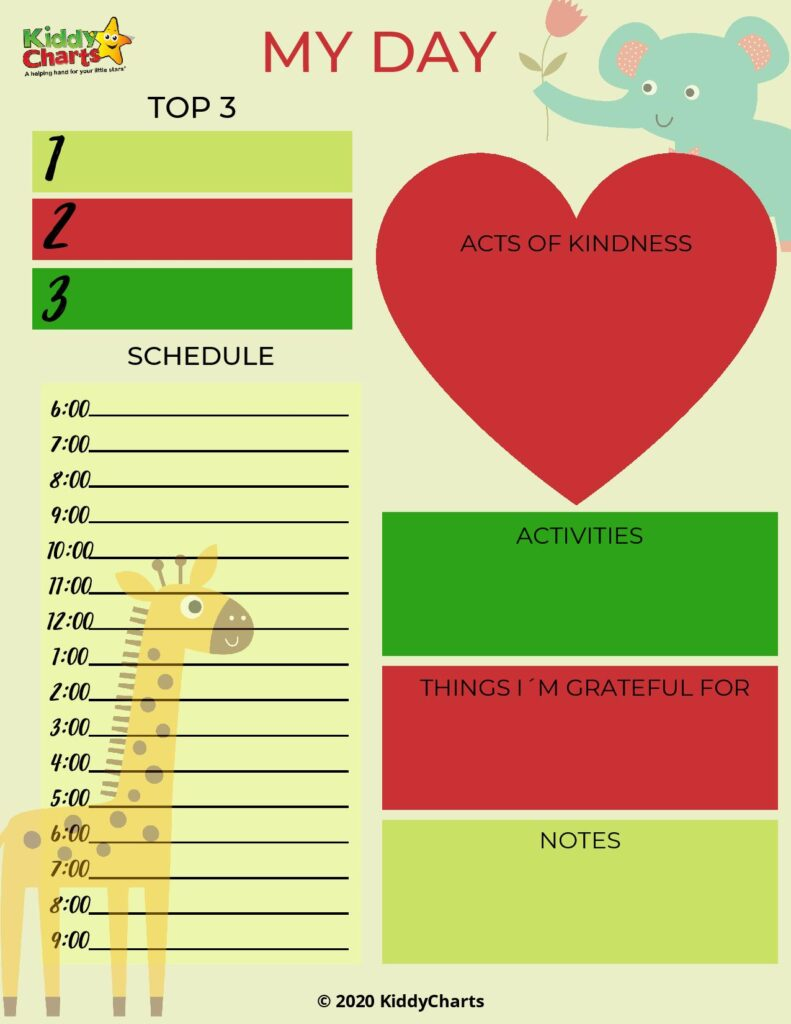 Free Kids Planner by Day
