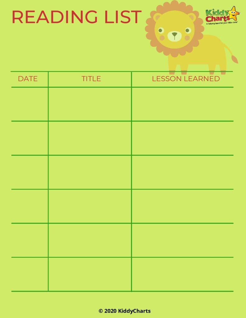 Free Kids Planner Daylong Reading List