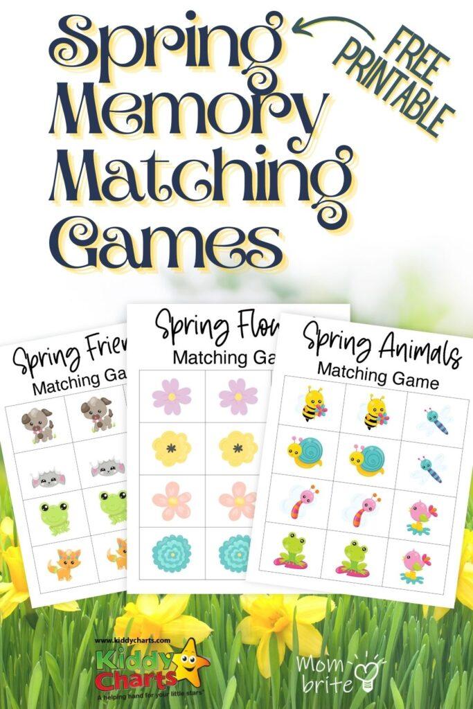Free printable spring memory matching games