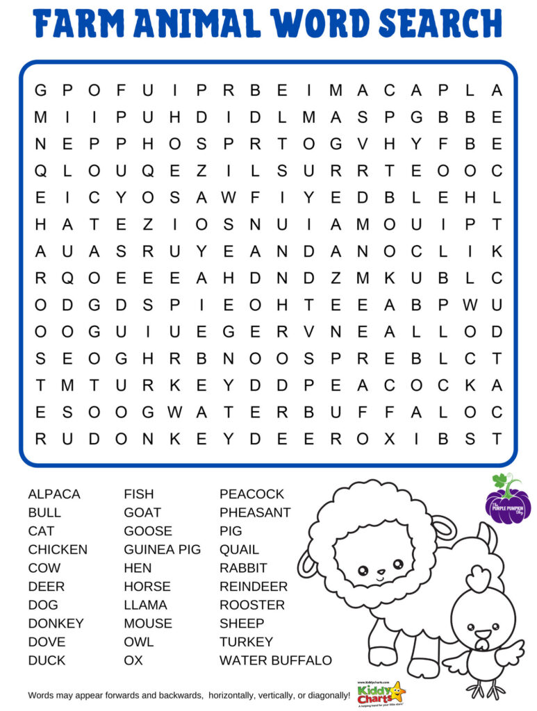Farm animals wordsearch with sheep