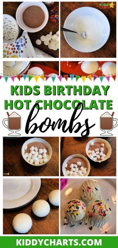 Kids birthday hot chocolate bombs