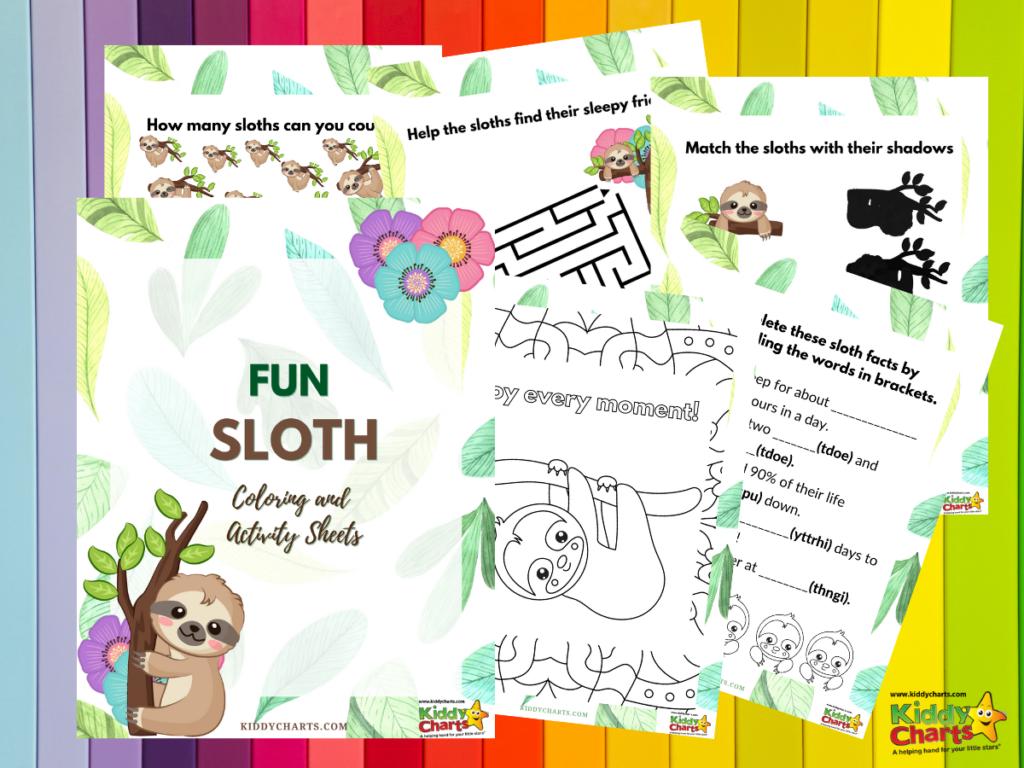 Sloth coloring and activity sheets:
