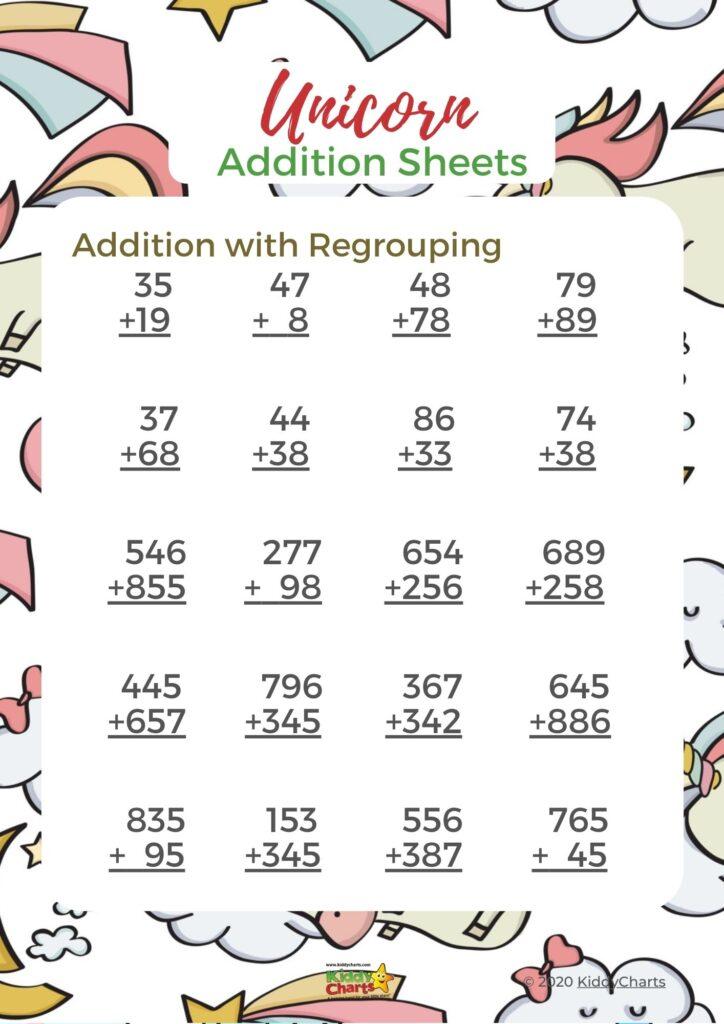 Unicorn maths worksheets