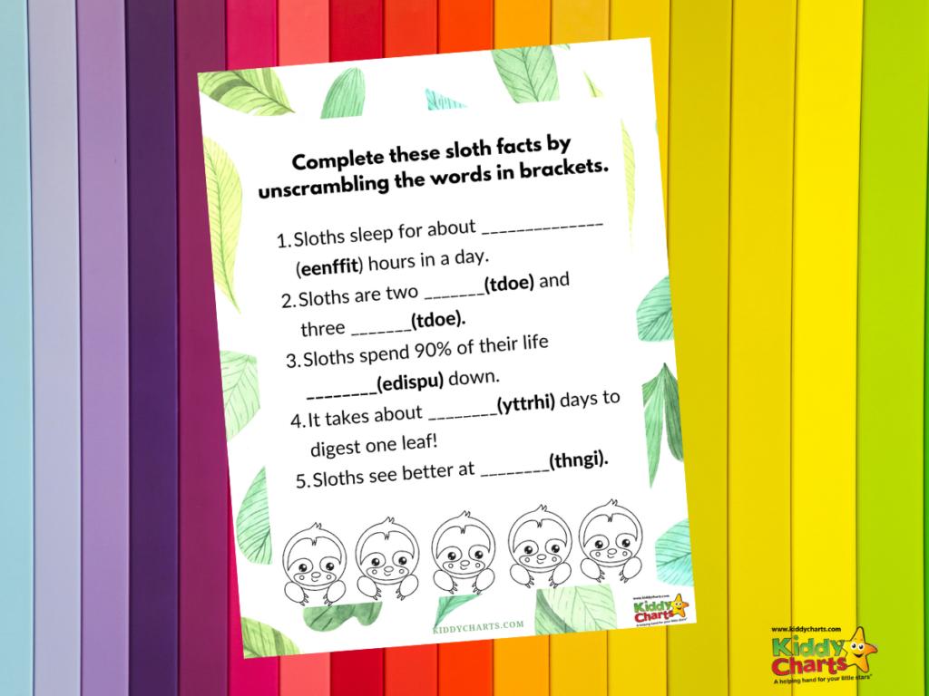 Sloth coloring sheets