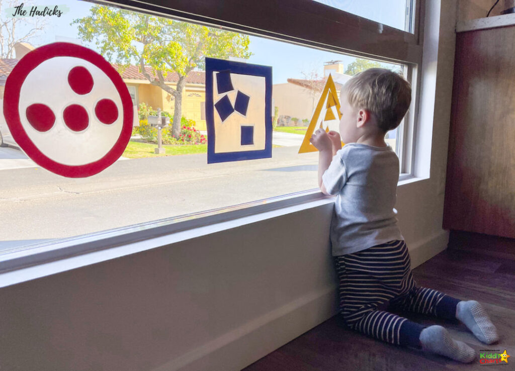 Activities for toddlers including shapes for window stickers