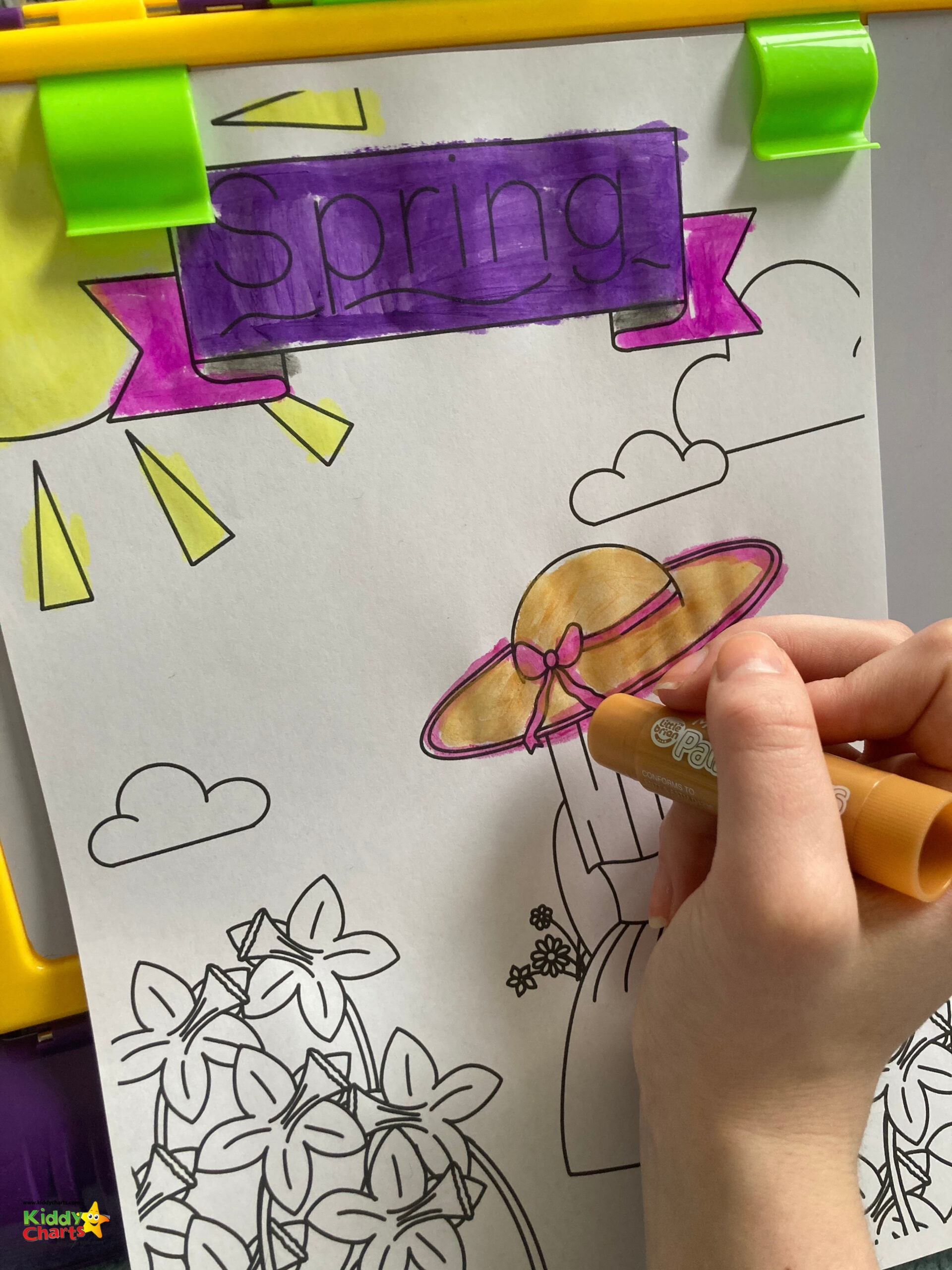 Spring colouring pages Little Brain Paint Sticks