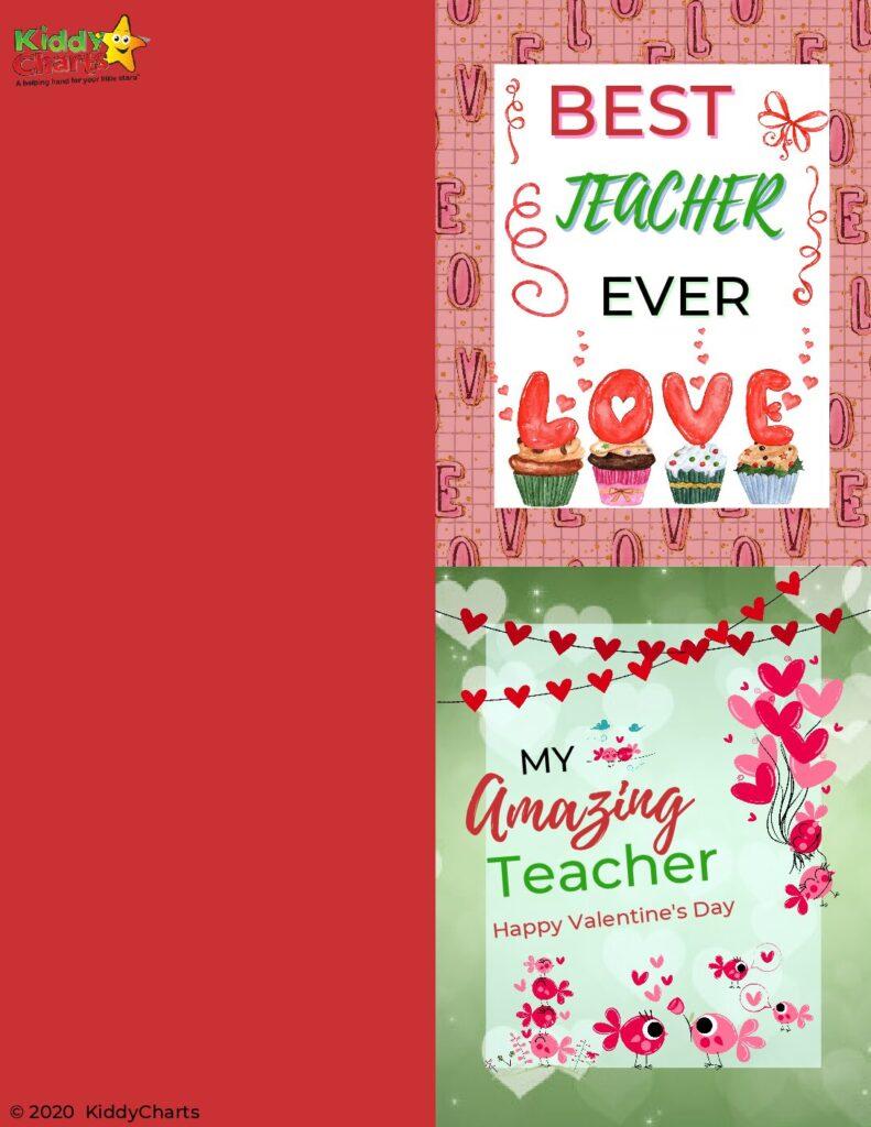 Teacher Valentine's Cards best teacher