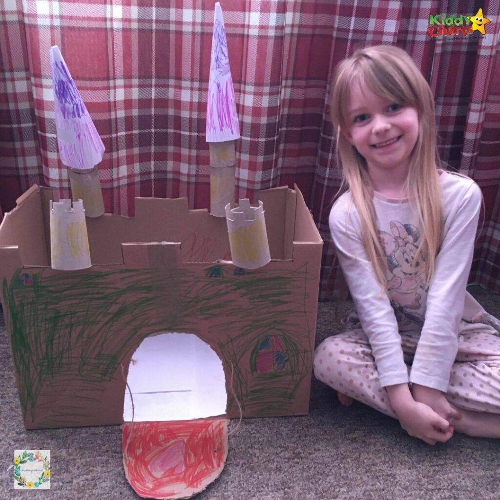 Cardboard box craft castle