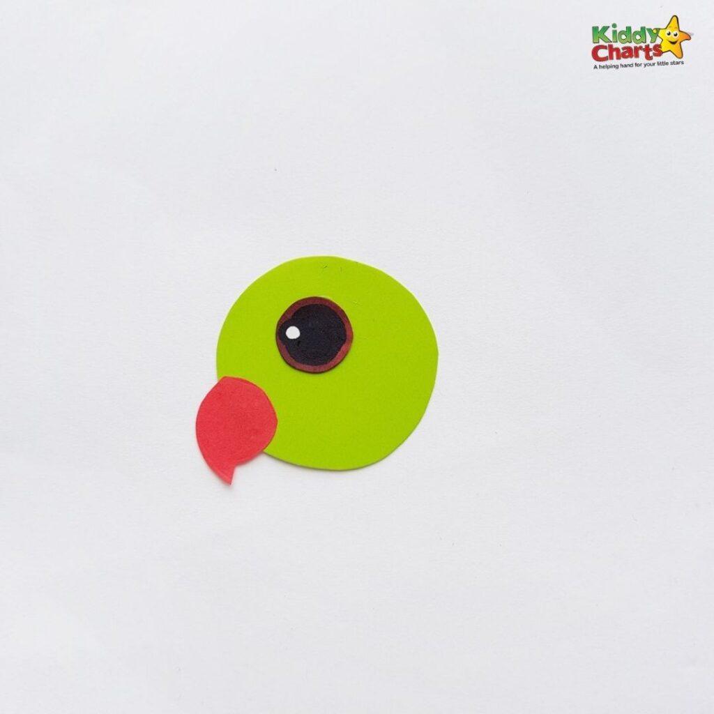 Green parrot paper craft Head Cut Out