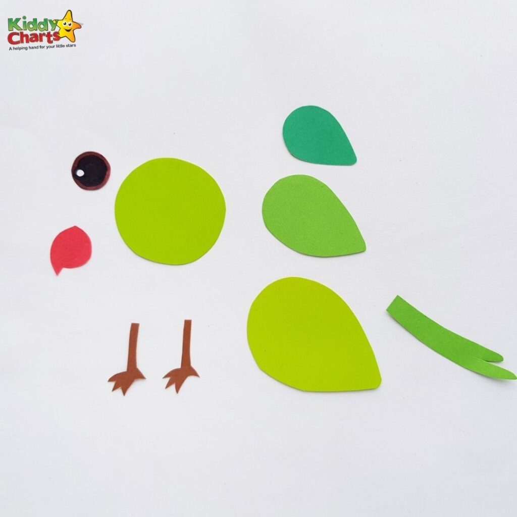 Green parrot paper craft project