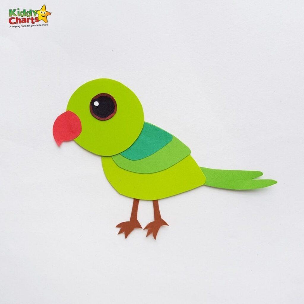 Green parrot paper craft stick togther
