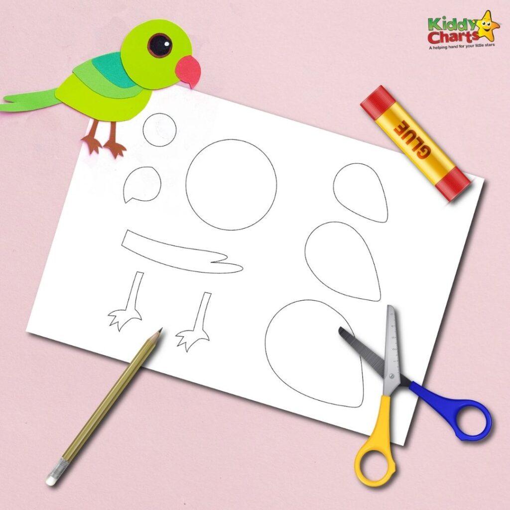 Fun green parrot paper craft