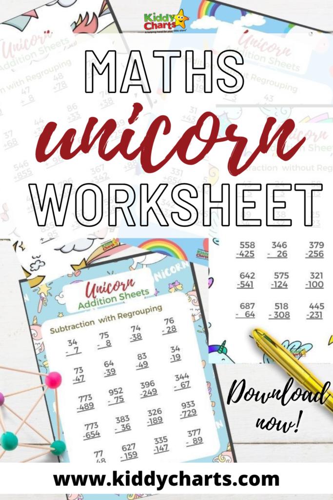 Unicorn themed maths worksheets