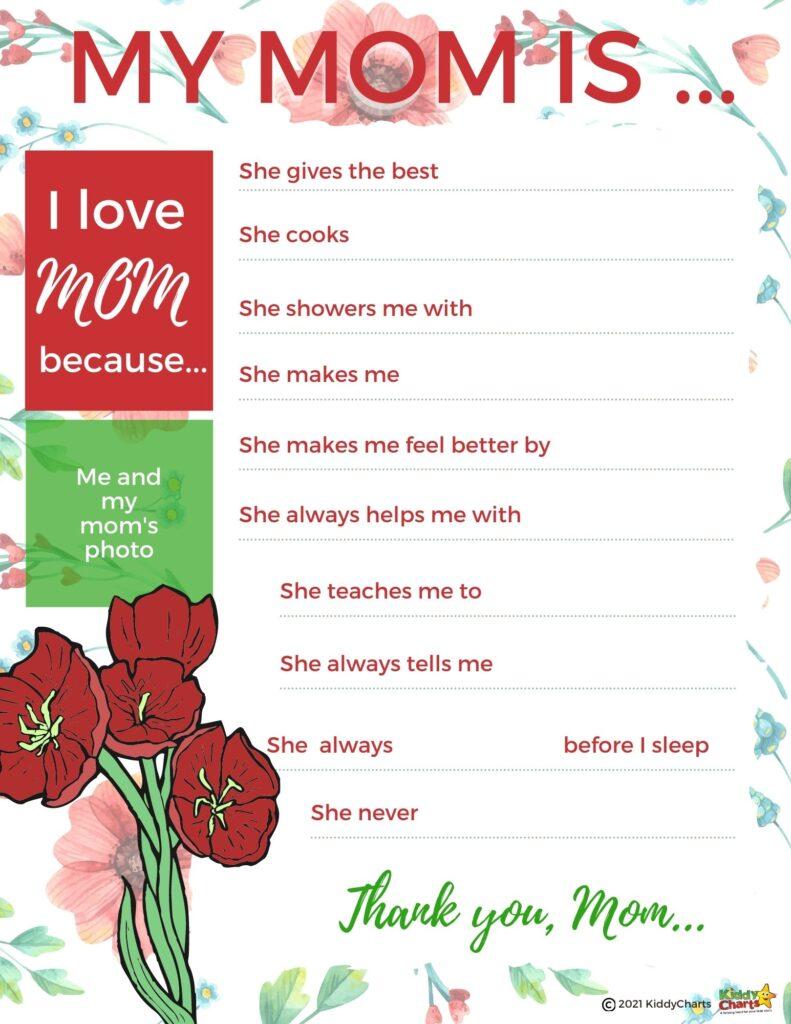Mum free activity sheet