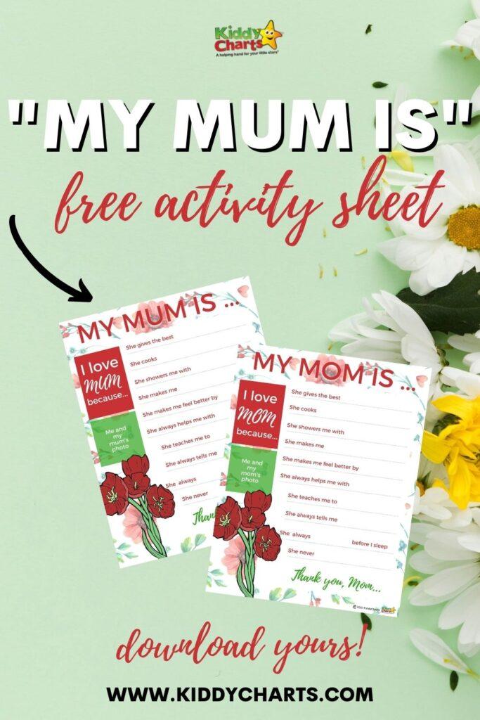 """My mum is"" free activity sheet"
