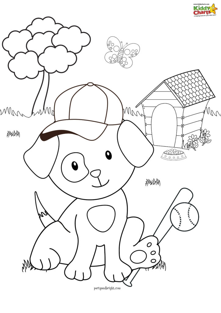 Baseball puppy coloring pages for kids