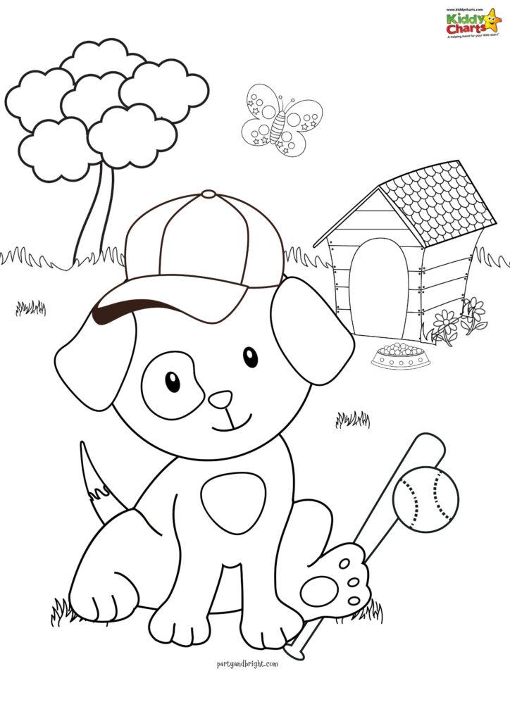 Baseball Puppy Coloring Page Kiddycharts Com