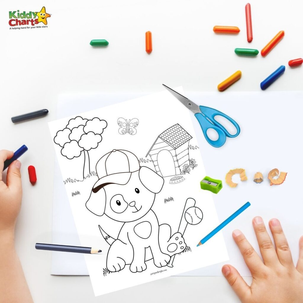 Kids baseball puppy coloring page