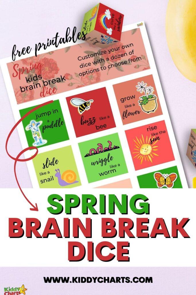 Spring brain break dice game