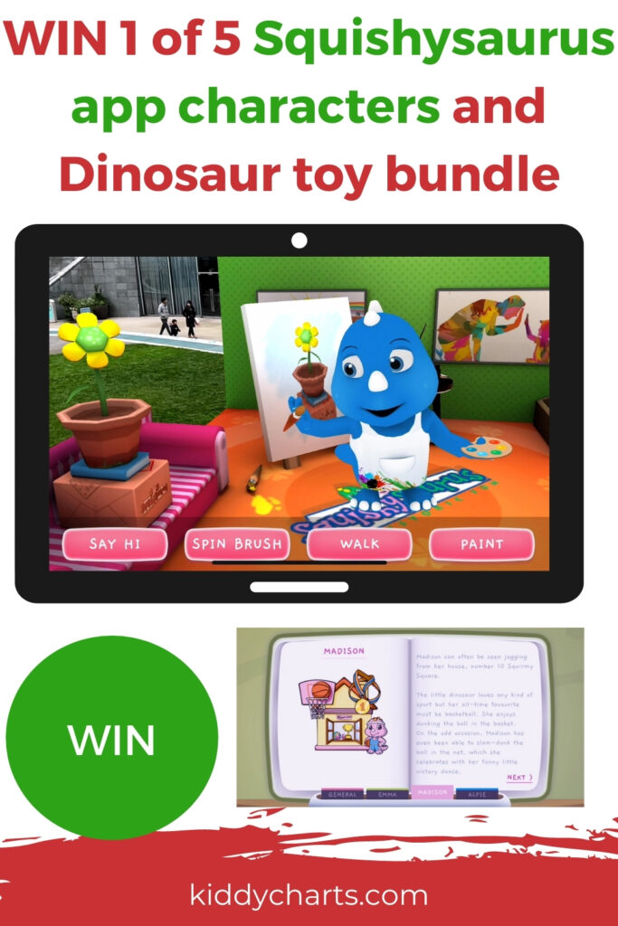 Win Squishysaurus characters online and dinosaur toy bundle