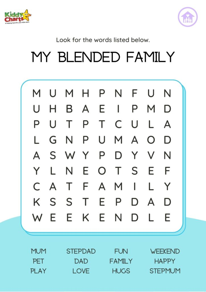 Blended families word search
