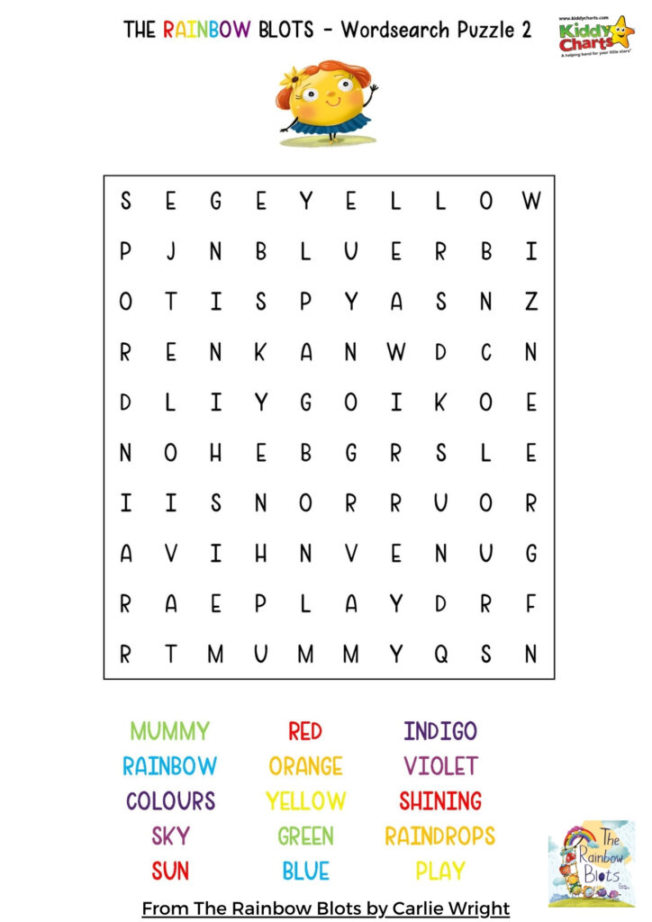 Rainbow color word search