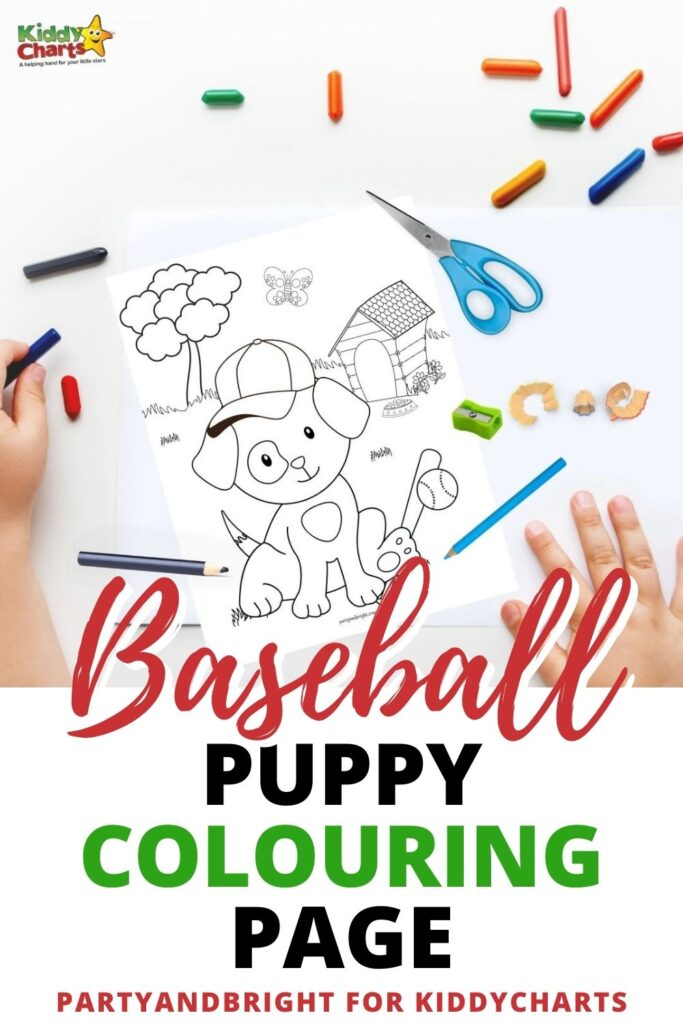 Baseball puppy coloring page