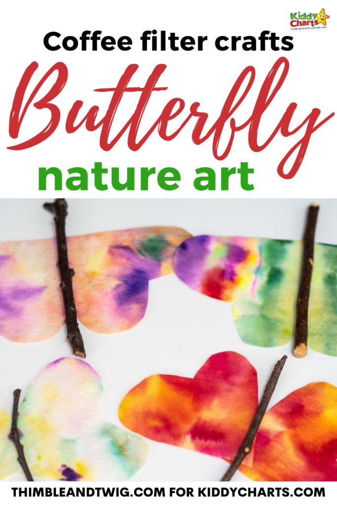 Coffee filter crafts: Butterfly nature art