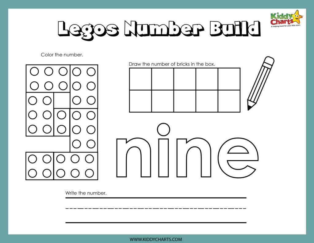 Lego Numbers Building Activity nine