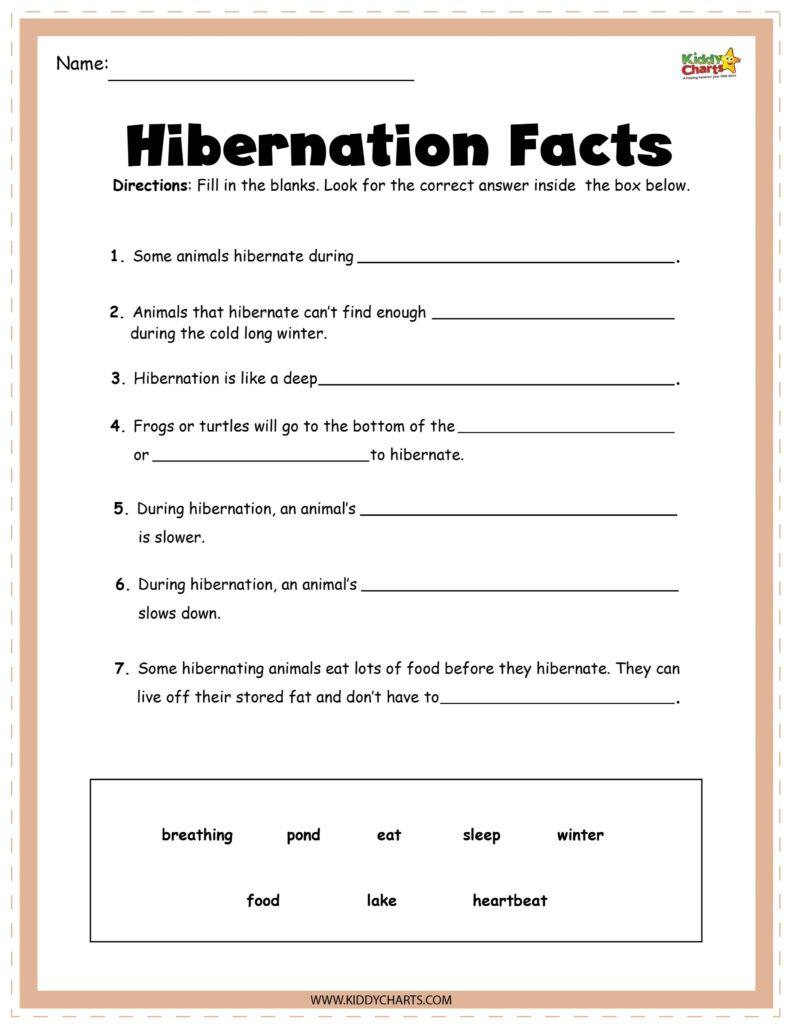 Hibernating animals fact sheet