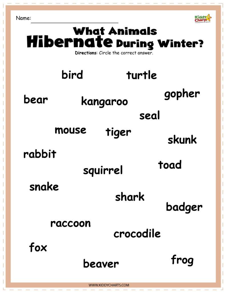 Hibernating animals printable