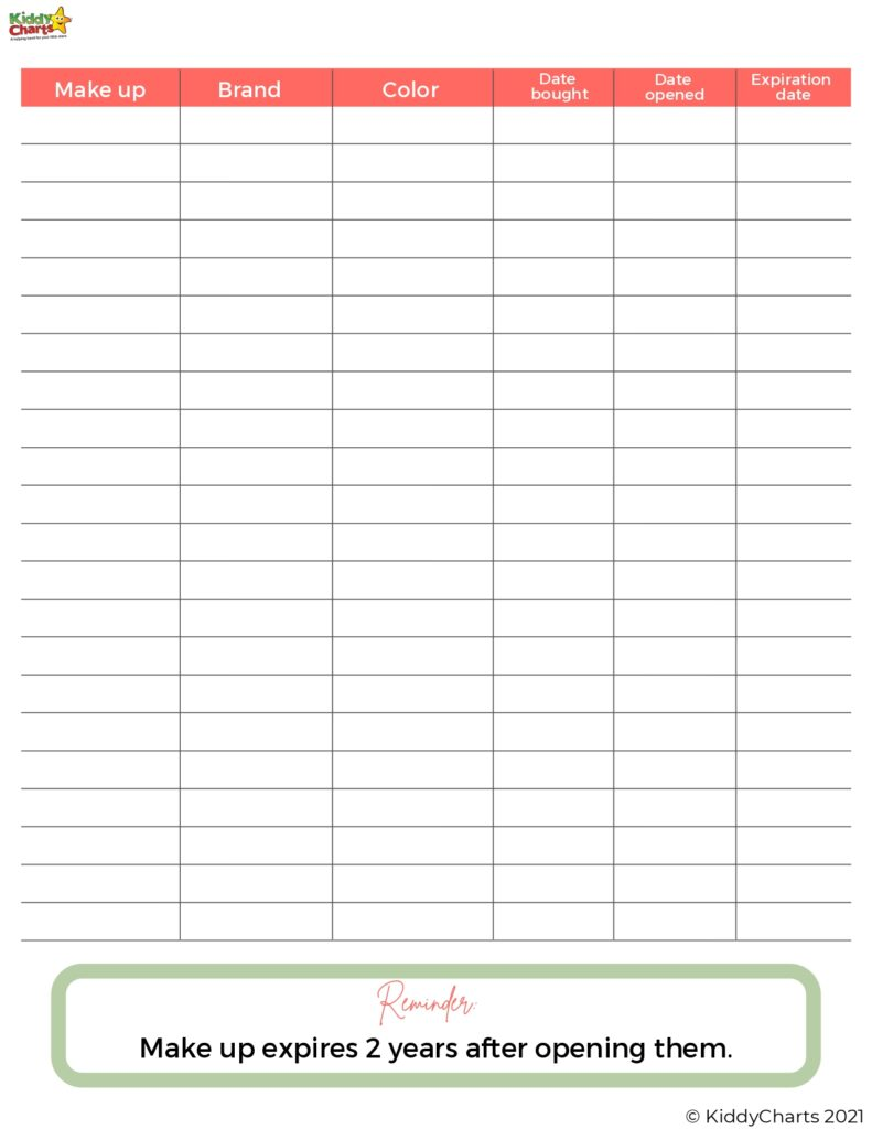 Make up tracker by date