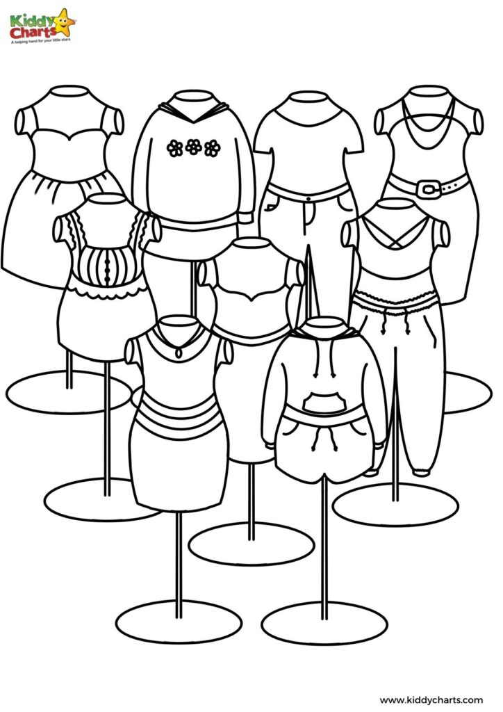 Fashion colouring pages for children