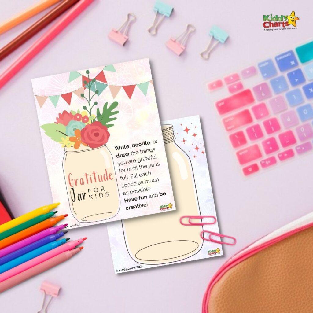 Gratitude jar for kids download and print