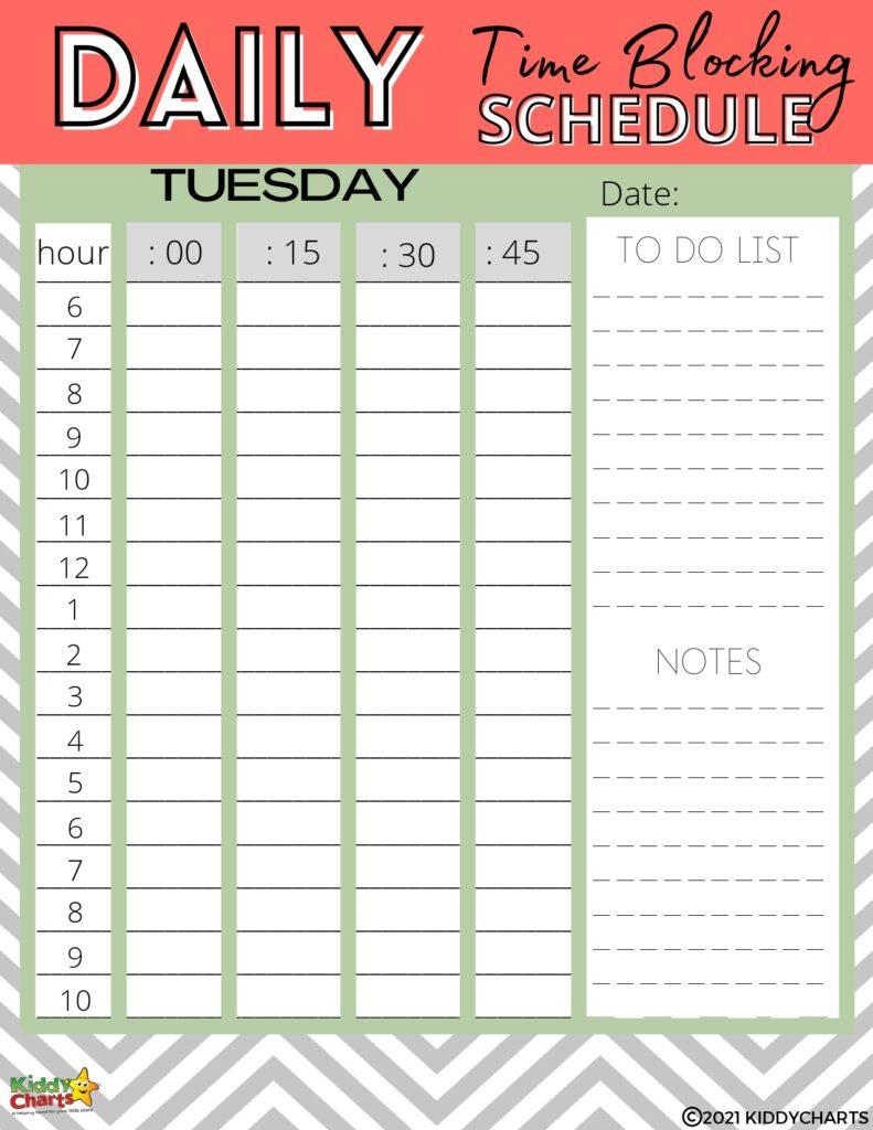 Time blocking schedule printable