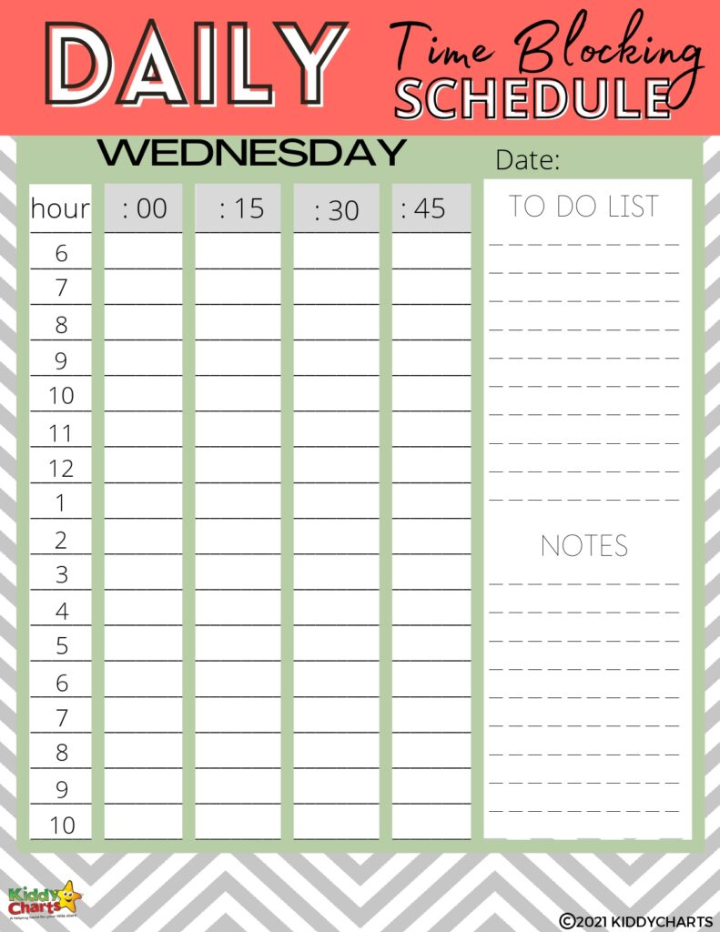 Time blocking schedule to help you get organised