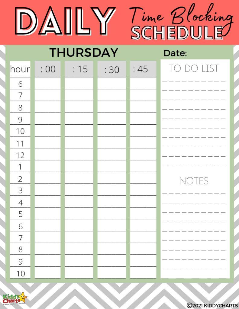 Parents time blocking schedule