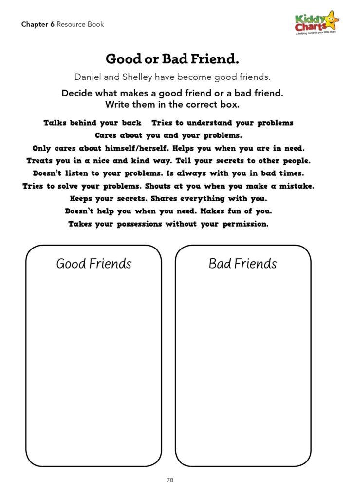 Good friend activity for kids